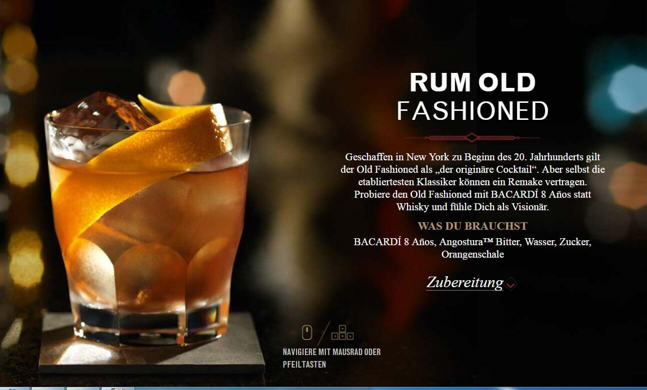 "... von Bacardi die Drinks ""Old Cuban"" und ""Rum Old Fashioned"" an"