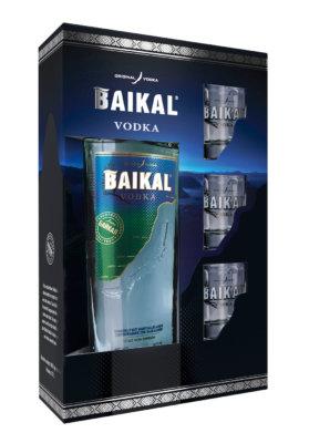 Baikal Vodka mit drei Shot-Gläsern im Geschenkset