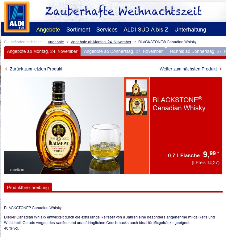 news kanadische whiskys bei aldi nord und aldi s d zu. Black Bedroom Furniture Sets. Home Design Ideas