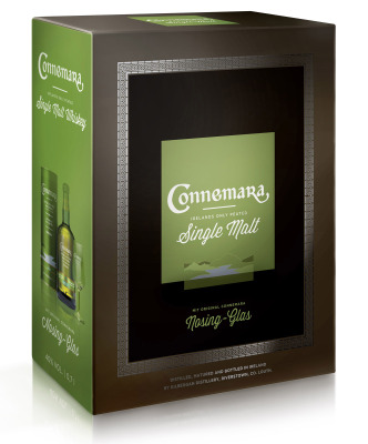 Connemara Peated Single Malt Whiskey mit Nosing-Glas in Geschenkset