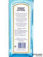 Bombay Sapphire London Dry Gin (47%) Rückseite Etikett