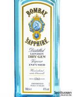 Bombay Sapphire London Dry Gin (47%) Vorderseite Etikett