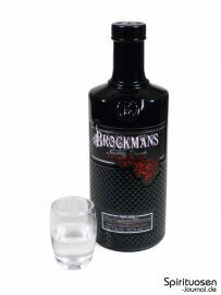 Brockmans Gin Glas und Flasche