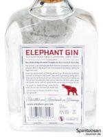 Elephant Gin Rückseite Etikett