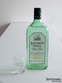 London Hill Dry Gin Glas und Flasche