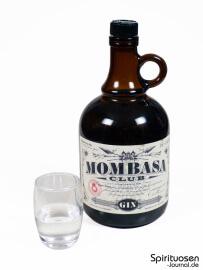 Mombasa Club London Dry Gin Glas und Flasche