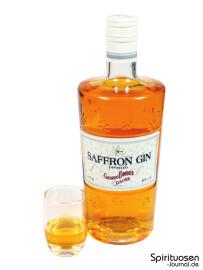 Saffron Gin Glas und Flasche