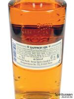 Saffron Gin Rückseite Etikett