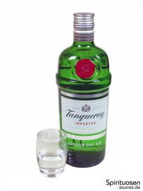 Tanqueray London Dry Gin Glas und Flasche