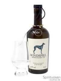 Windspiel Dry Gin Glas und Flasche