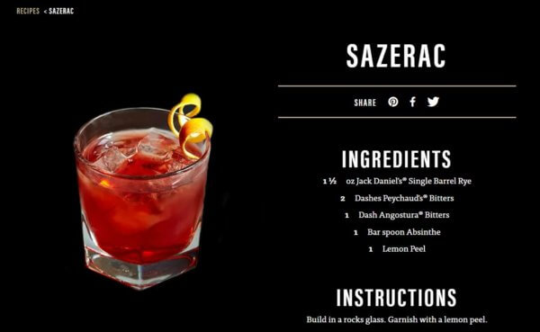 'Sazerac' mit Jack Daniel's Single Barrel Rye