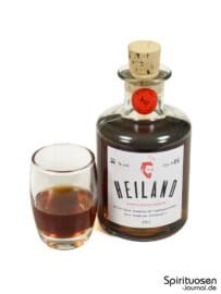 Heiland Doppelbockliqueur Glas und Flasche