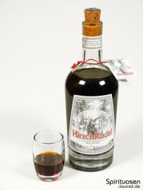 HirschRudel Kräuterlikör Glas und Flasche
