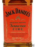 Jack Daniel's Tennessee Fire Vorderseite Etikett