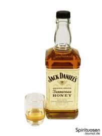 Jack Daniel's Tennessee Honey Glas und Flasche