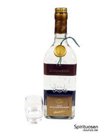 Schladerer Rote Williamsbirne Glas und Flasche