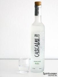 Cascajal Pisco Mosto Verde Italia Glas und Flasche
