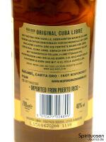 Bacardi Carta Oro Rückseite Etikett