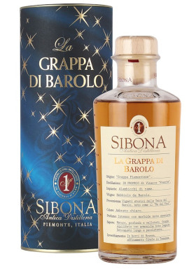 Sibona Grappa di Barolo in weihnachtlicher Geschenkdose zum Fest
