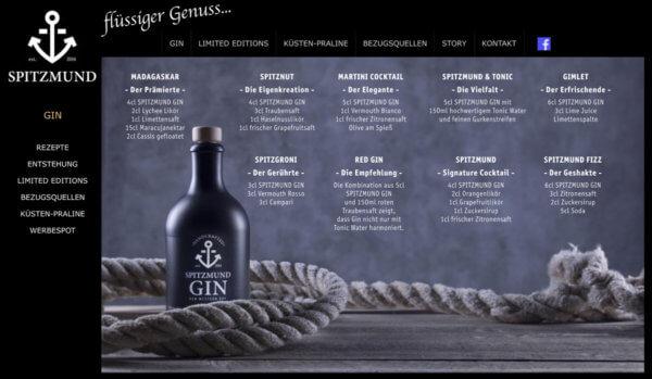Drinks mit Spitzmund Gin
