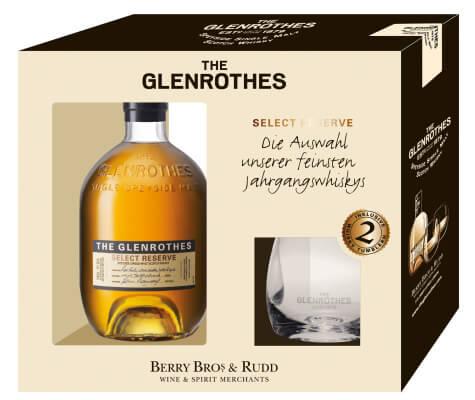 The Glenrothes Select Reserve in Geschenkset mit zwei Tumbler-Gläsern