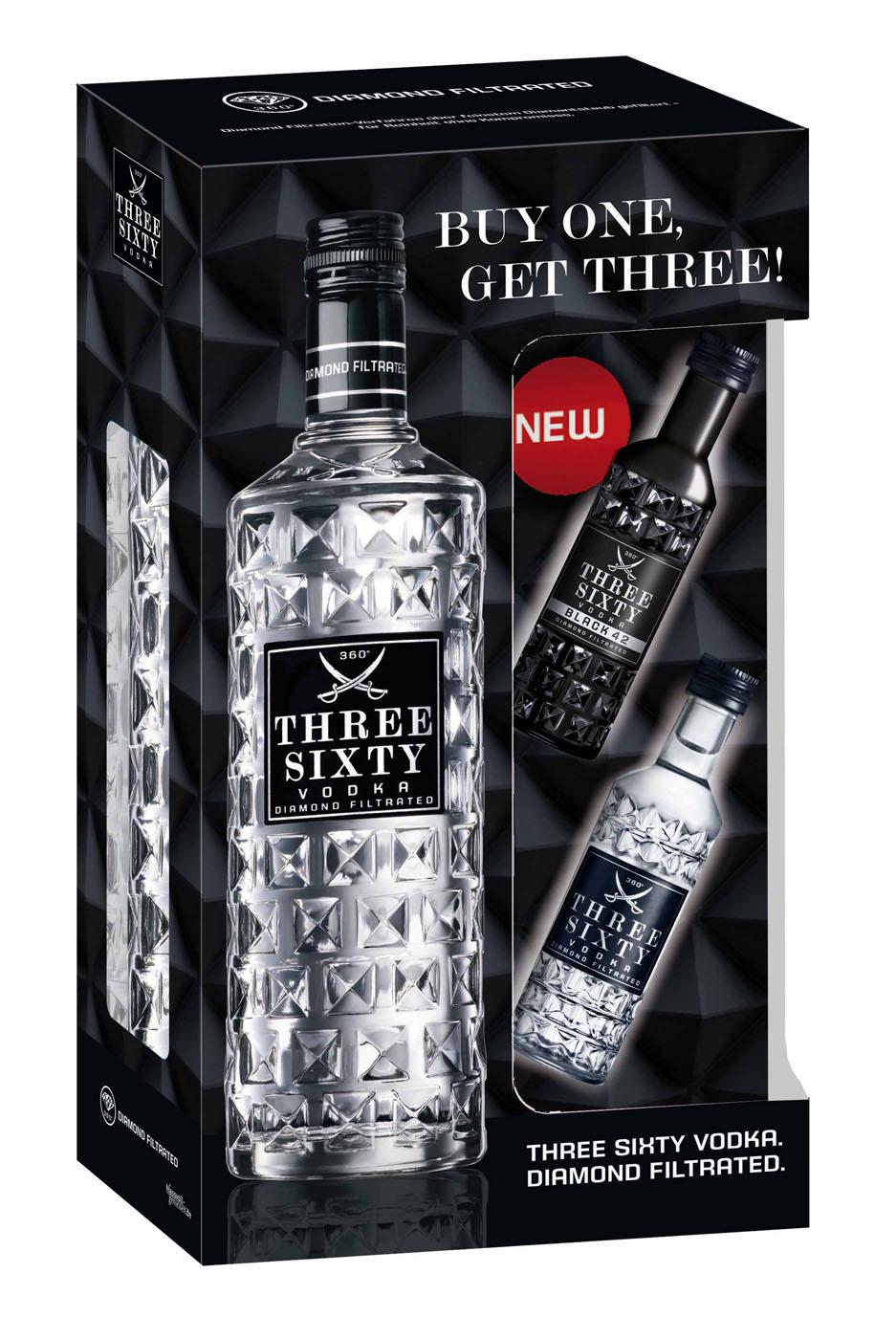 news three sixty vodka mit zwei miniaturen in geschenkset. Black Bedroom Furniture Sets. Home Design Ideas