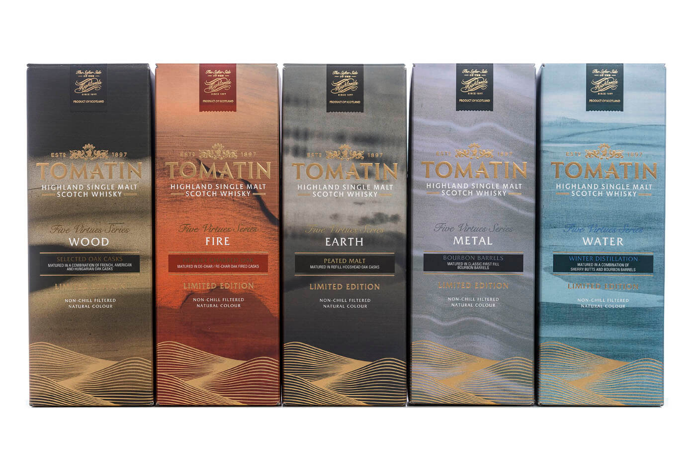 five virtues The five virtues series from tomatin explores the five elements surrounding whisky distillation - fire, water, earth, wood and metal that last one is the expression.