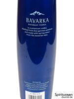 Bavarka Bavarian Vodka Rückseite Etikett