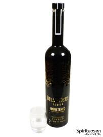 Belvedere Unfiltered Glas und Flasche