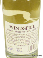Windspiel Barrel Aged Potato Vodka 2016 Rückseite Etikett
