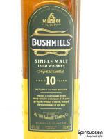 Bushmills 10 Jahre Vorderseite Etikett