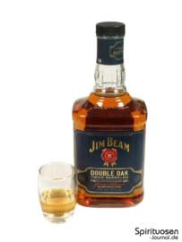 Jim Beam Double Oak Glas und Flasche