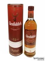 Glenfiddich 15 Jahre Verpackung und Flasche