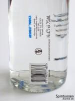 Absolut Vodka Blue Label Rückseite Etikett